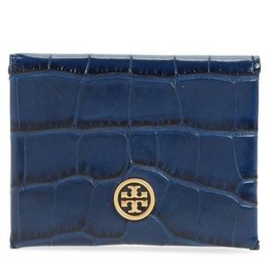 Tory Burch.Parker Croc Embossed Leather Card Case.